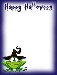 Printable Halloween notepaper with a fun, froggy design