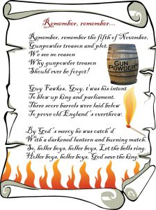 Traditional rhyme for Guy Fawkes Night, Remember, Remember!