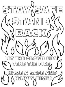 Printable bonfire safety poster for kids to colour in.