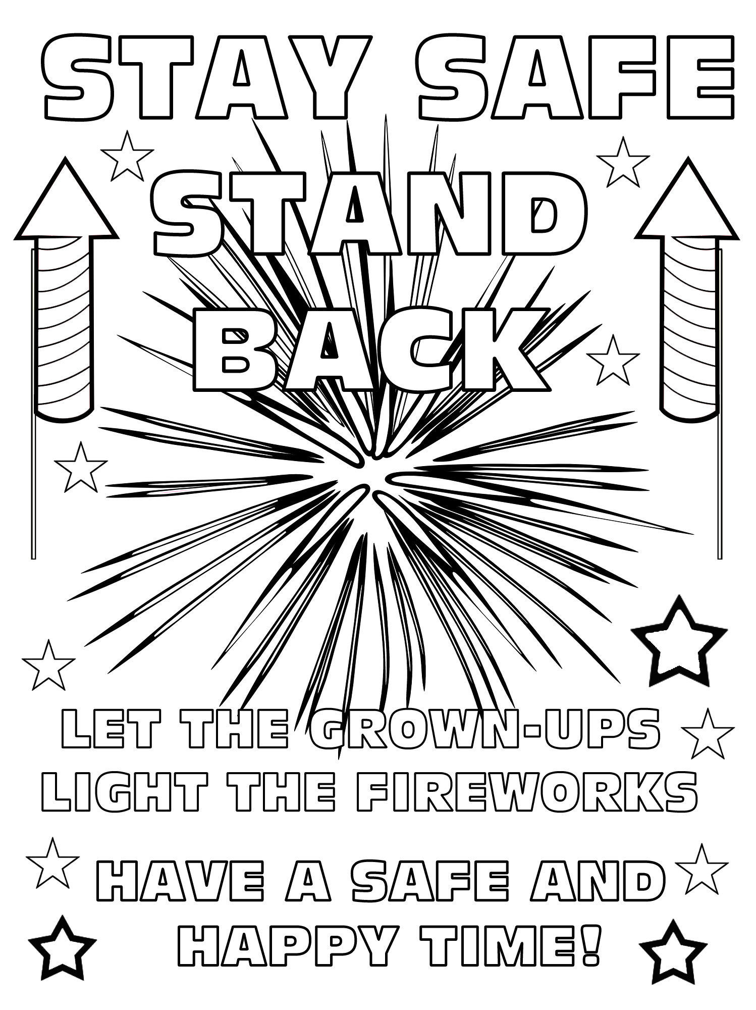 Printable fireworks safety poster for kids to colour in.