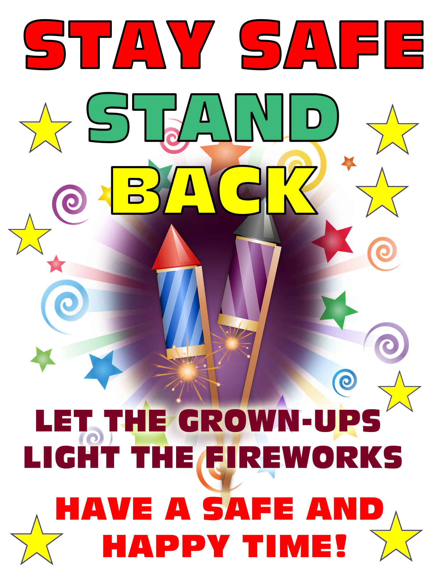 graphic relating to Free Printable Safety Posters identified as Fireworks Protection Poster Rooftop Write-up Printables