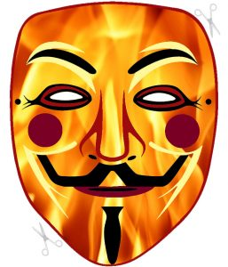 A fiery cut out Guy Fawkes mask to craft for Bonfire Night