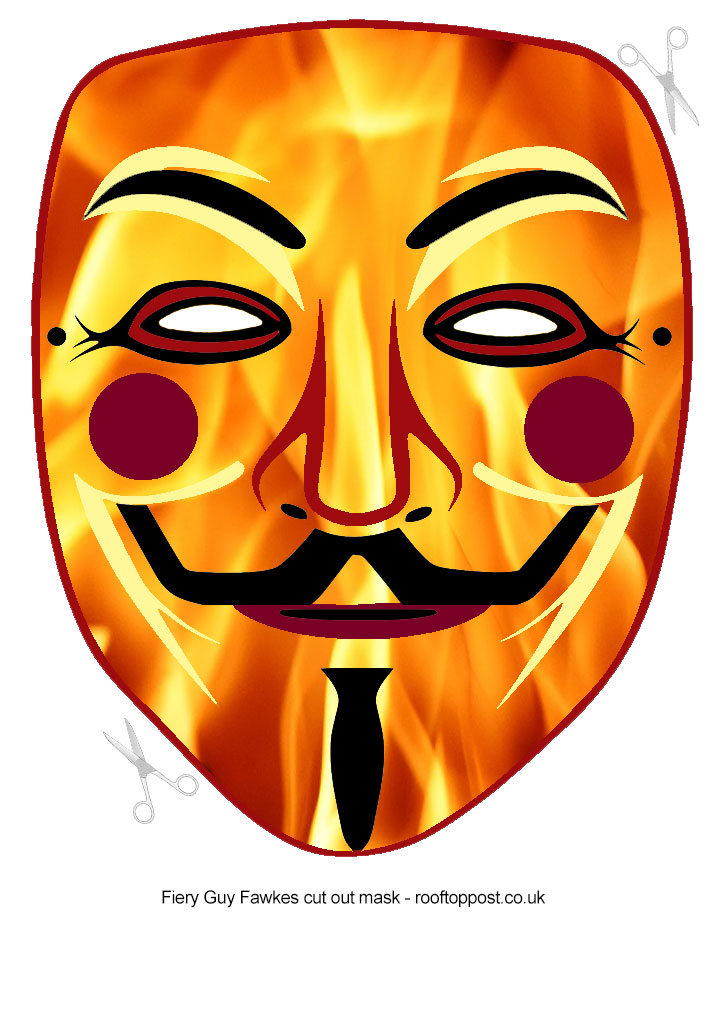 Fiery Guy Fawkes Cut Out Mask | Rooftop Post Printables