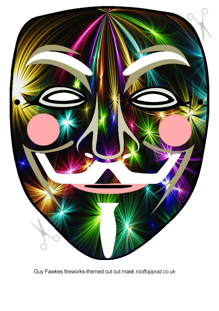 Guy Fawkes mask with a fireworks design to print and craft for Bonfire Night