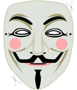 A cut out Guy Fawkes mask to craft for Bonfire Night