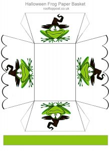 Printable paper basket decorated with frogs.