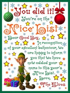 A note from the elves to tell a good boy he's on the Nice List