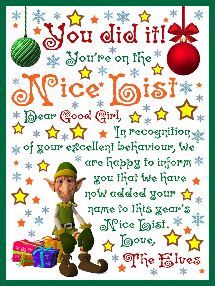 A note from the elves to tell a good girl she's on the Nice List