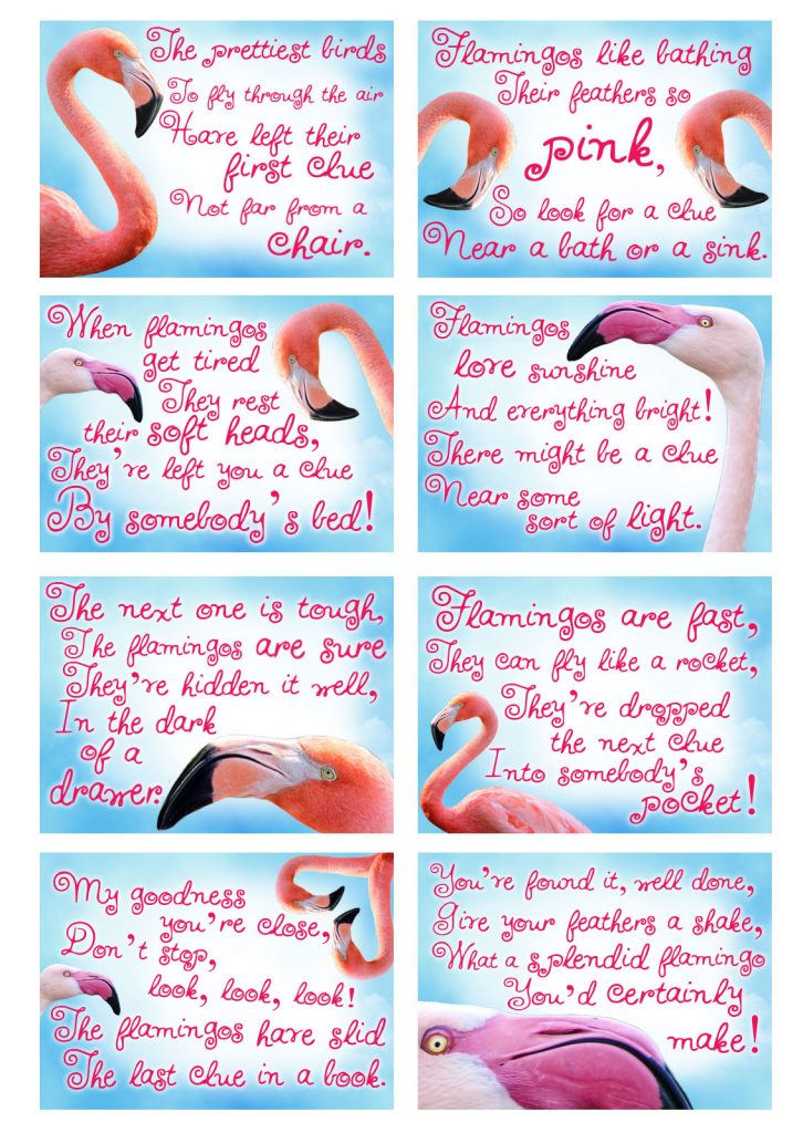Printable flamingo treaure hunt clues - a game for a children's party.