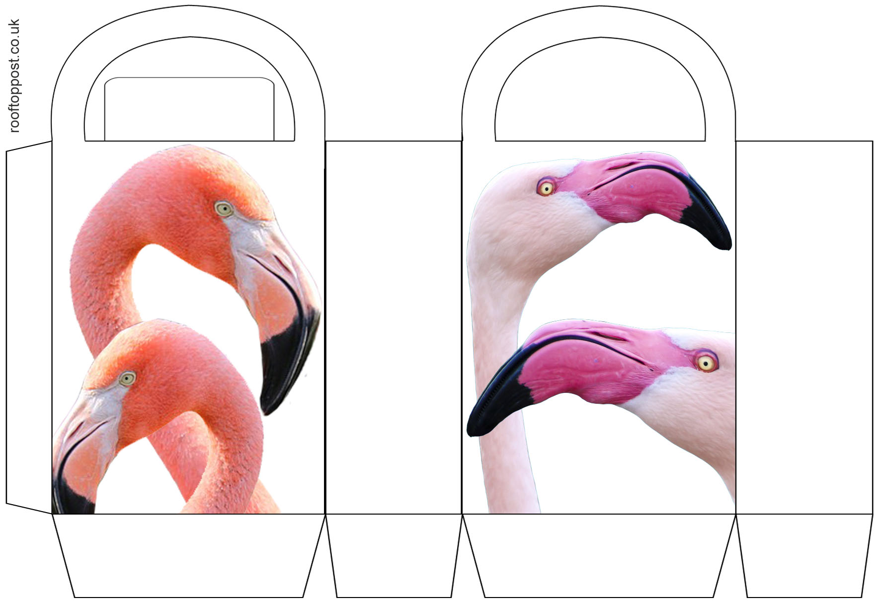 Printable paper party bag with a flamingo design.