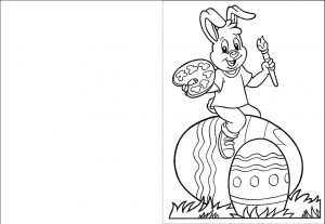 Easter Bunny card for kids to colour in.
