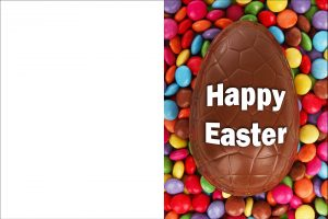 Printable Easter card of a chocolate egg surrounded by smarties.