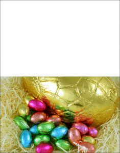 Printable Easter card of chocolate eggs