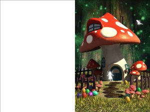 Printable Easter card of a fairy toadstool house in a magical woodland glade.