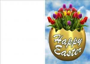Printable Easter card of a golden egg containing tulips.
