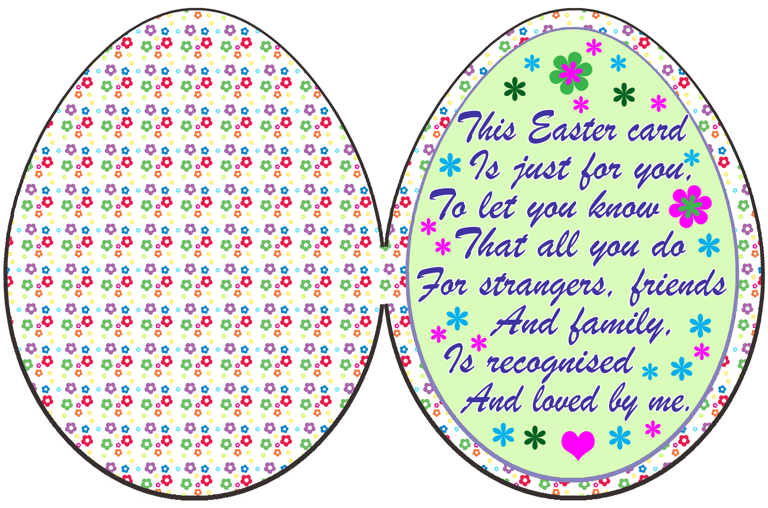 A printable Easter egg poem card