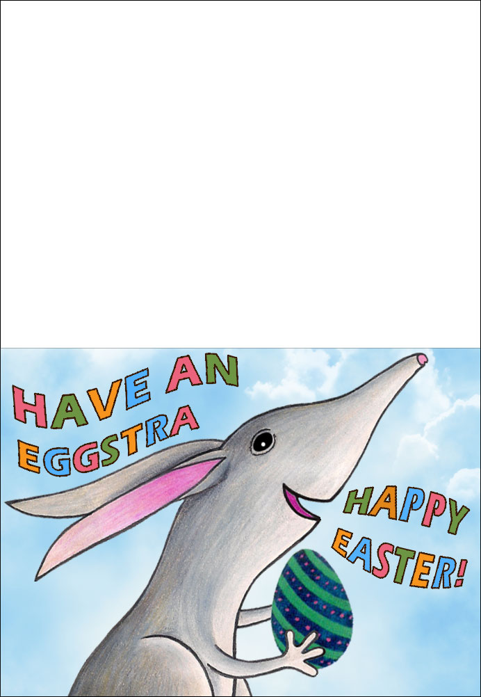 Printable Easter Bilby Greetings card picturing the Easter Bilby carrying an Easter egg.