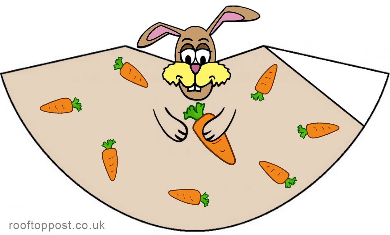 Paper cone decoration easter bunny with carrots rooftop for What is the easter bunny s phone number