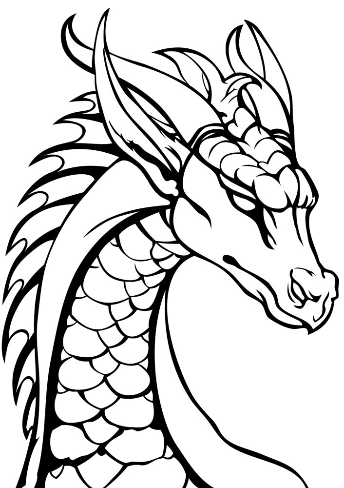Printable colouring page of a dragon's head.