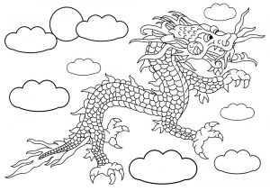 Kids colouring of a Chinese-style dragon flying through the sky