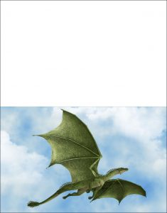 Printable blank greetings card picturing a green dragon in a blue sky.