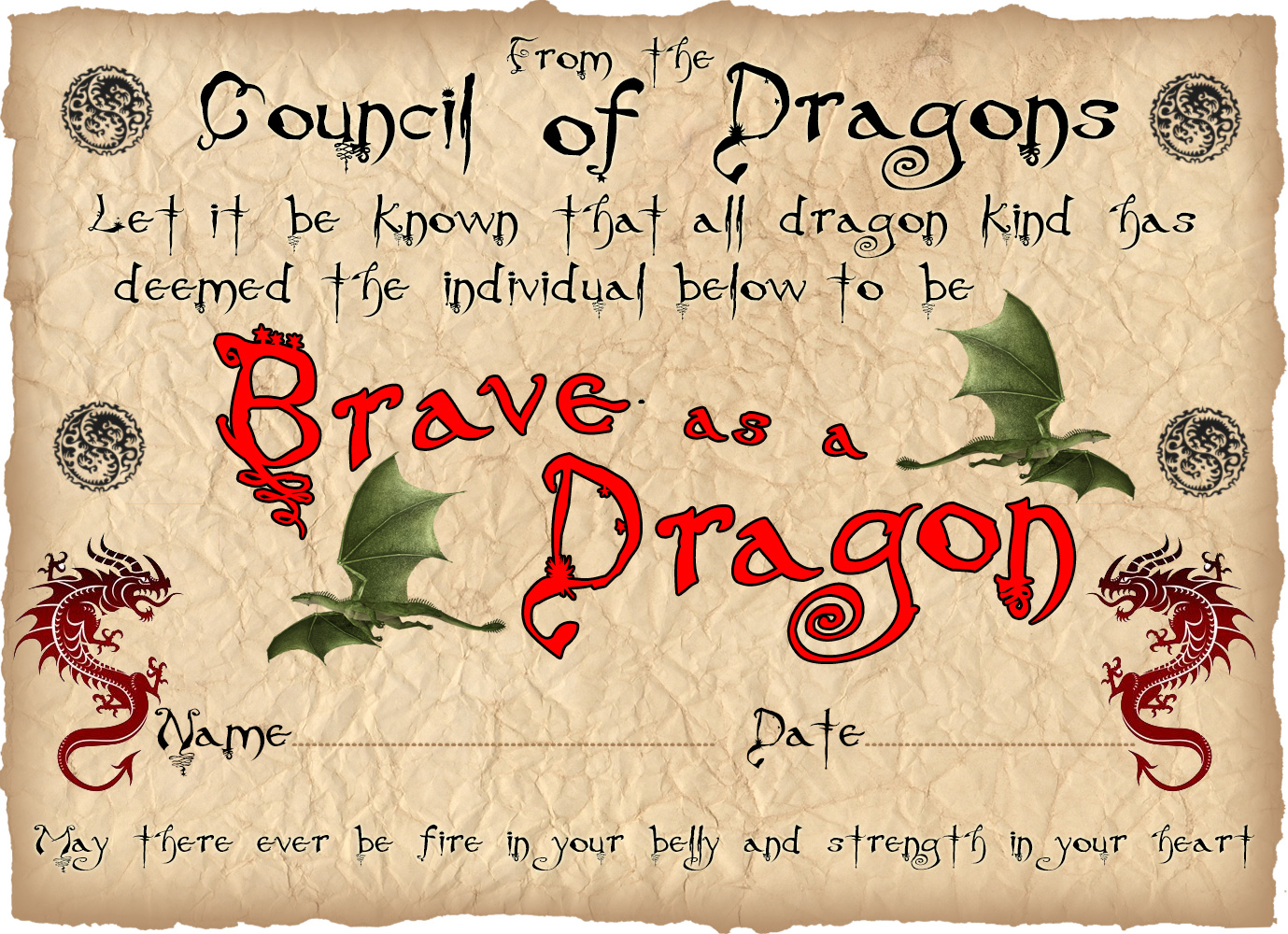 Printable children's certificate saying you've been as brave as a dragon.
