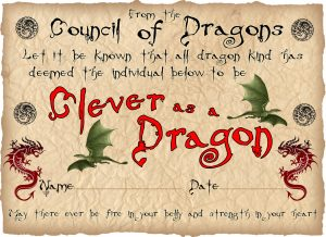 Printable children's certificate saying you've been as clever as a dragon.