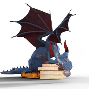 Blue dragon with a pile of books
