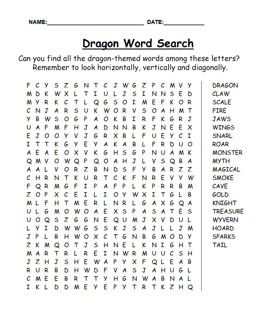 Printable dragon-themed word search