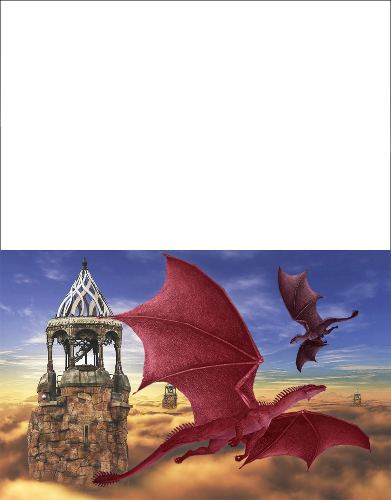 A free printable greetings card of two dragons flying above fantasy towers.