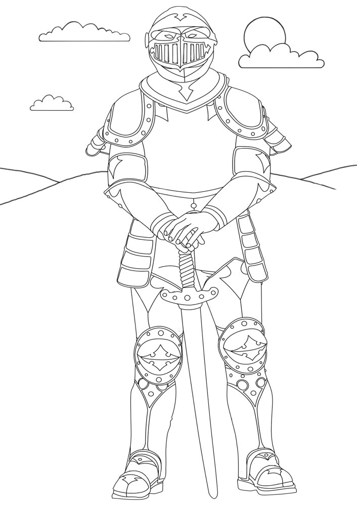Printable colouring page of a knight in armour
