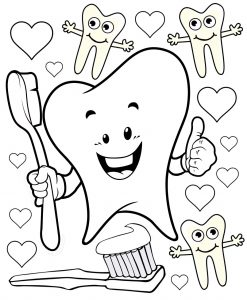 Love your teeth printable colouring page