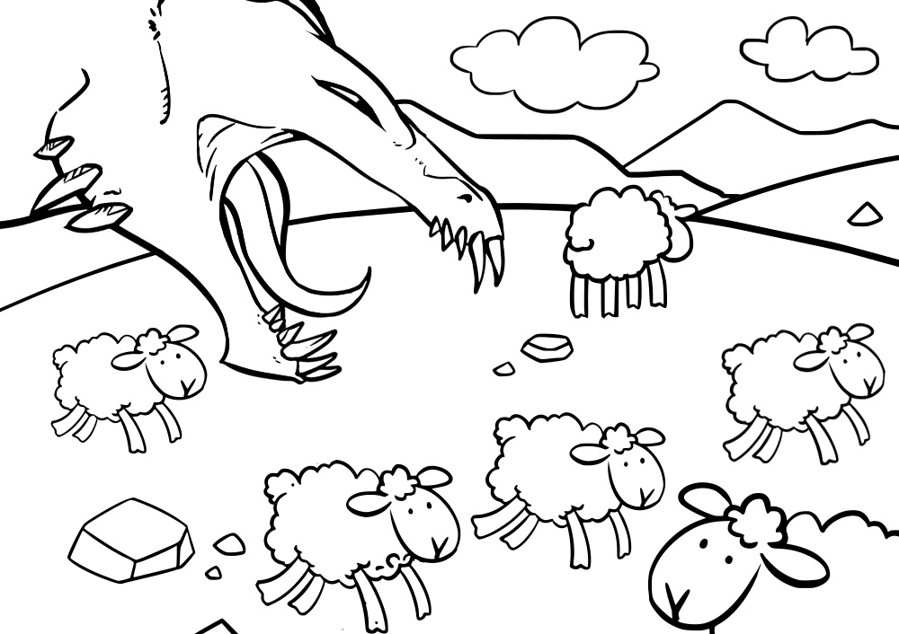 Printable colouring page of St George's Dragon threatening sheep