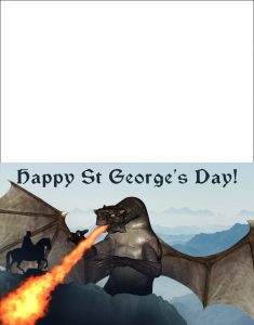 Printable St George's Day greetings card picturing a knight fighting a dragon