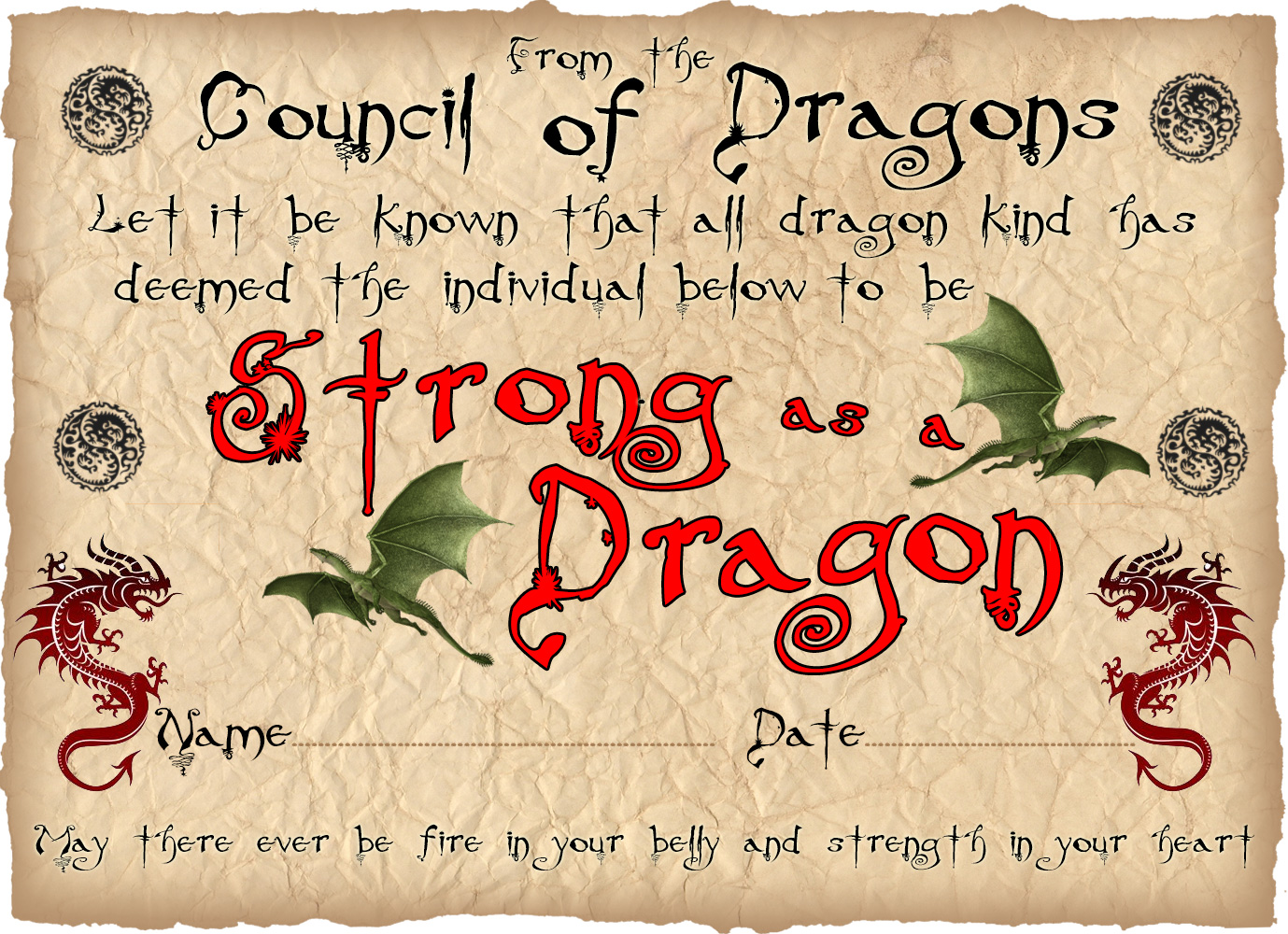Printable children's award certificate for being as strong as a dragon.