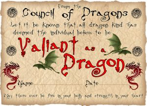Printable children's award certificate for being as valiant as a dragon.