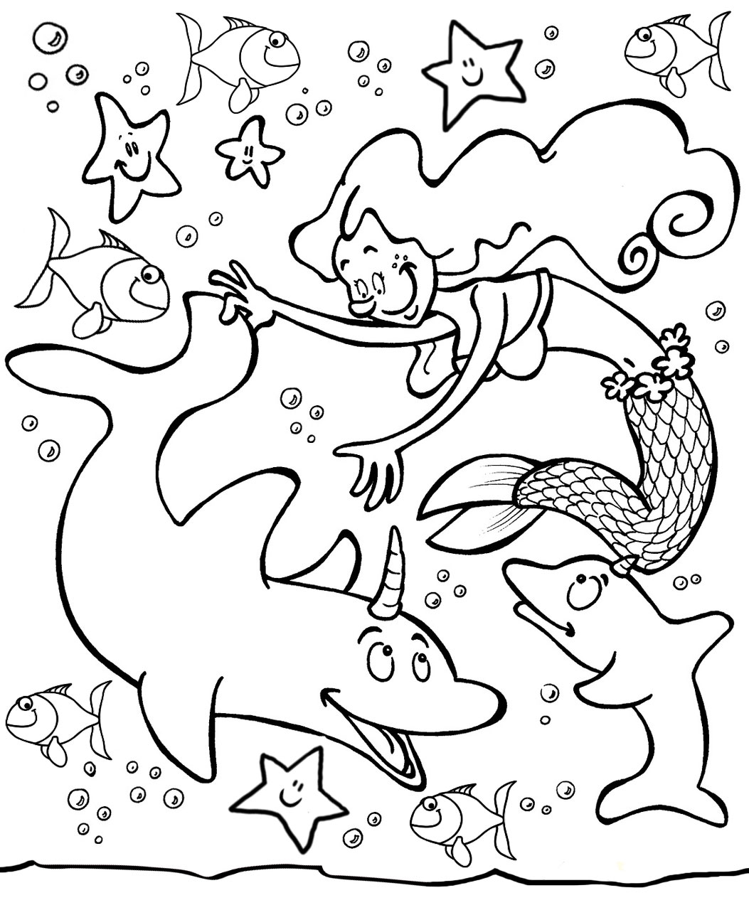 Free printable colouring of a mermaid in the ocean, playing with her dolphin friends
