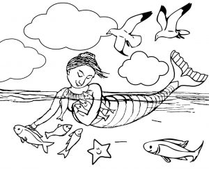 Free printable colouring page of a mermaid hugging her fish friends