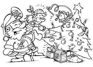 Colouring page of pirates and their pet monkey celebrating Christmas