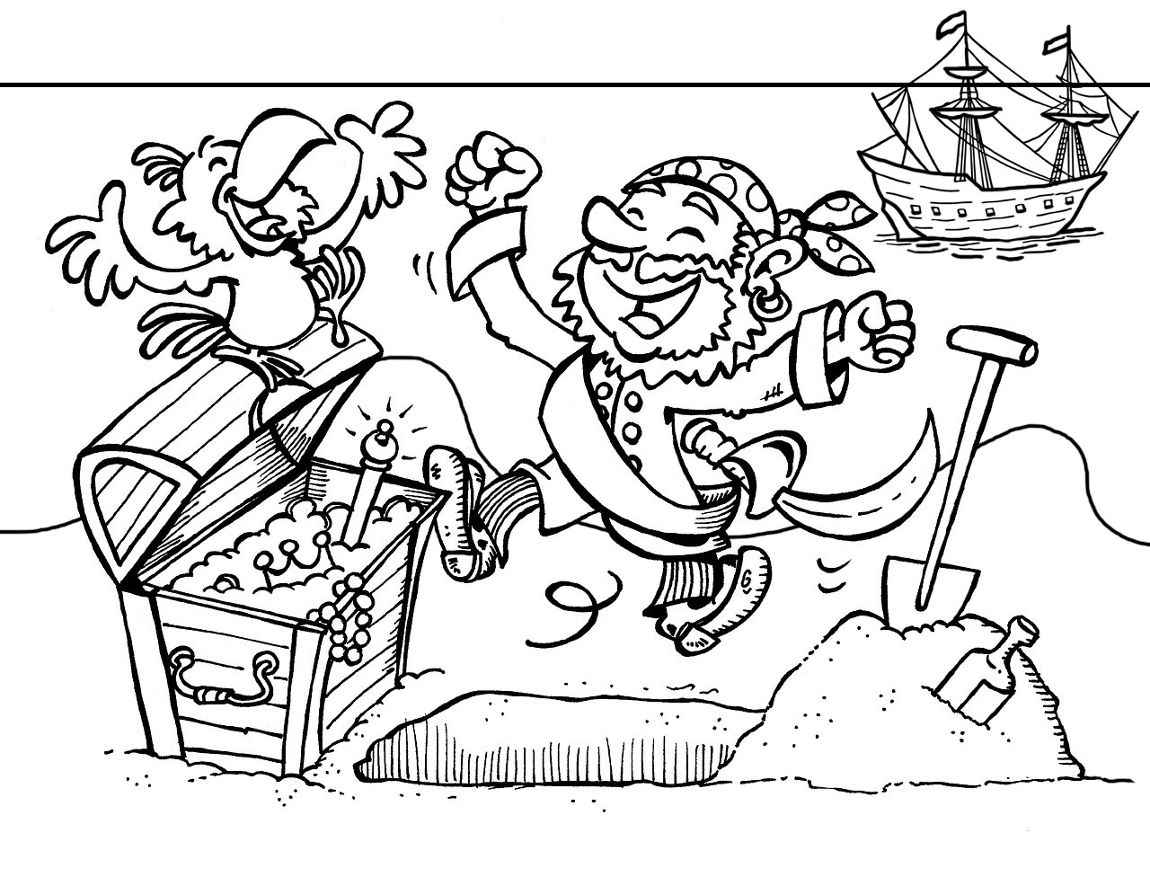 A colouring page of a pirate, his parrot and a chest of treasure