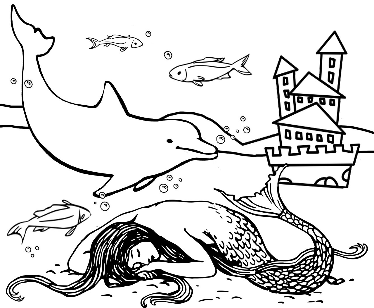 A picture to colour in of a mermaid sleeping in her underwater kingdom, with her castle nearby.