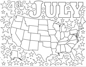 Free coloring page of a map of the USA surrounded by stars and hearts, meant for July Fourth