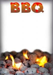 Printable template for a BBQ, which can be used as a menu or an invitation. It has charcoal and flames design.
