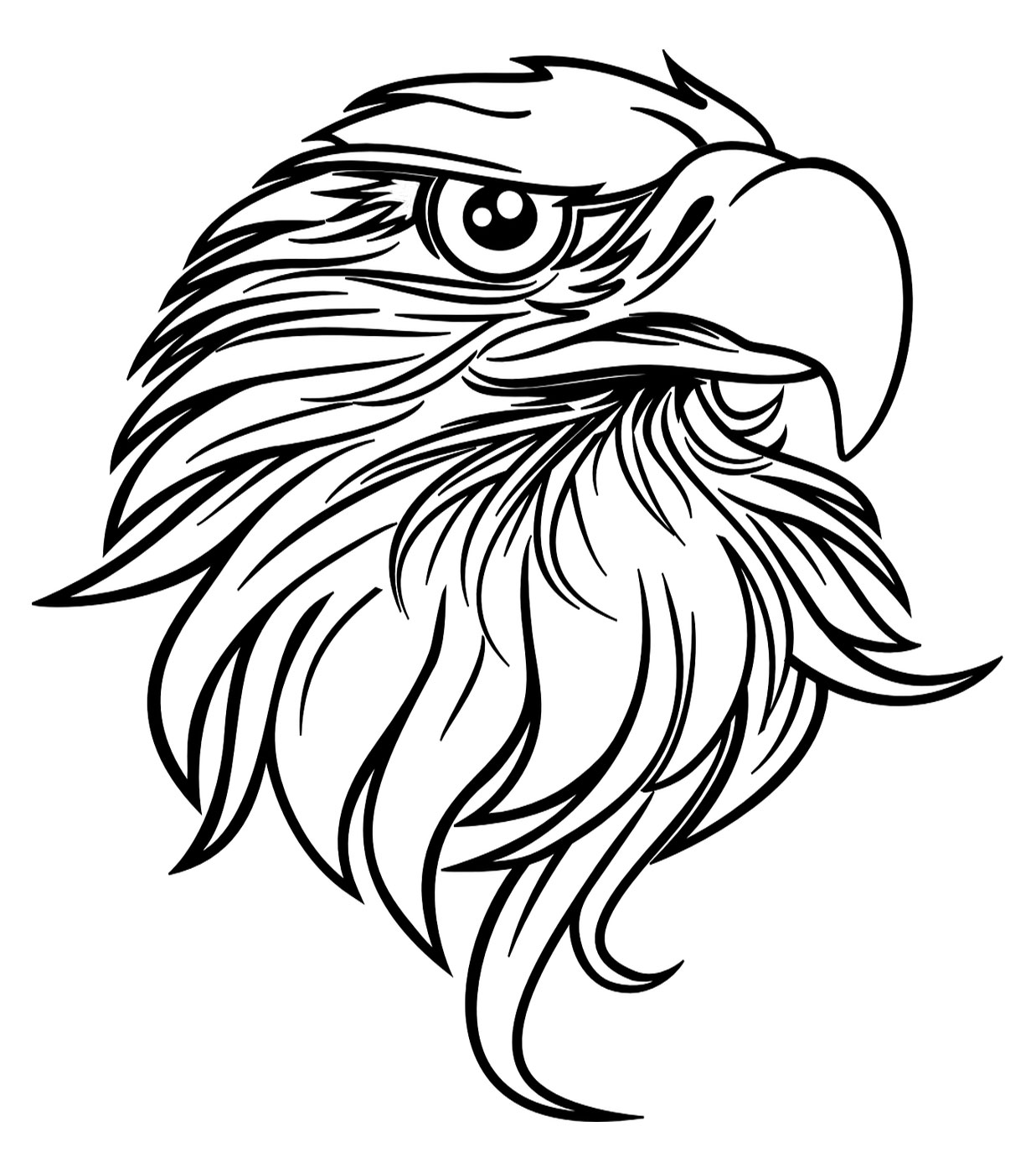 Free coloring page of an American bald eagle for American celebrations