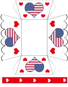 A printable paper basket with an American hearts design