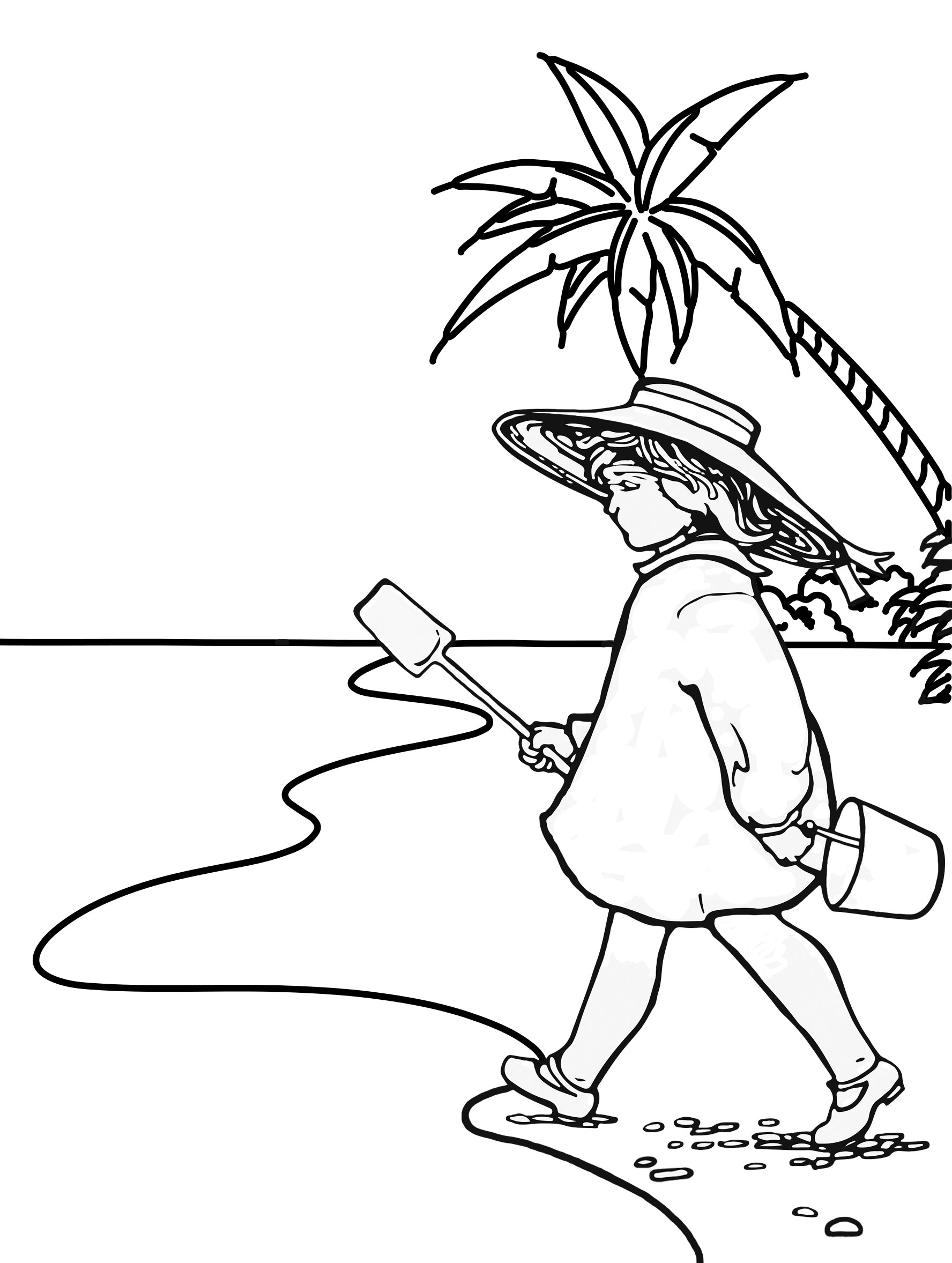 Picture to colour in of a girl walking along a beach with a bucket and spade
