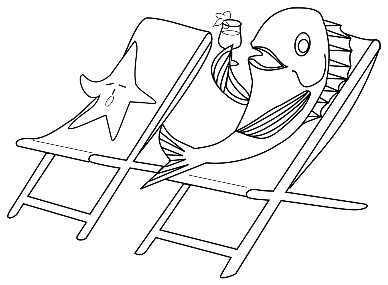 Free seaside colouring page for kids of a fish lazing around in a deckchair on the beach