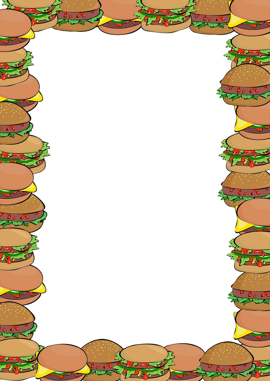 Printable blank notepaper with a burger border. Useful for children's parties, beach parties and barbecues.