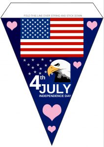 Free Printable 4th July Bunting picturing a bald eagle and American flag