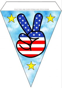 Bunting to print for American celebrations, pictures a peace sign with USA flag design
